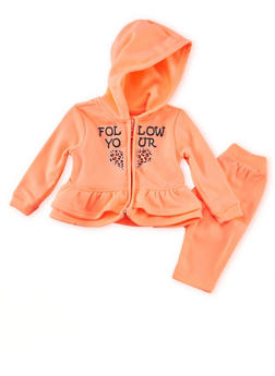 Toddler Girls Peplum Hoodie and Sweatpants Set - 1505038345072