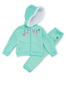 Toddler Girls Hoodie and Joggers Set with Love Graphic - 1505038345242
