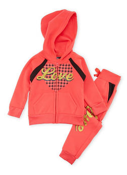 Toddler Girls Love Graphic Hoodie and Joggers Set - 1505038345532
