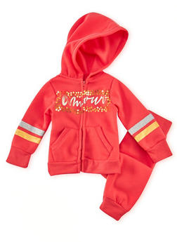 Toddler Girls Amour Graphic Hoodie and Joggers Set - 1505038345572