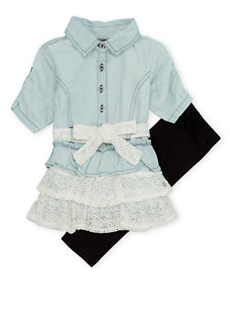 Toddler Girls Denim Dress and Leggings Set - 1505038345982