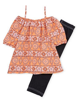 Toddler Girls Printed Off the Shoulder Top and Leggings Set - 1505048373363