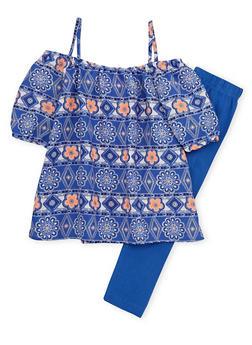 Toddler Girls Printed Off the Shoulder Top and Leggings Set - 1505048373363