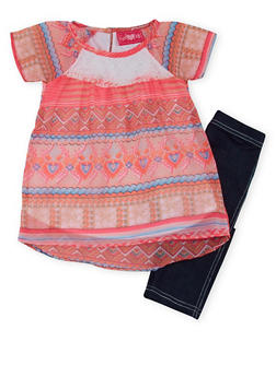 Toddler Girls Printed Tunic Top with Knit Denim Leggings Set - 1505048373446