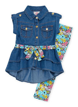 Toddler Girls Belted Denim Tunic Top with Printed Leggings Set - 1505054731320