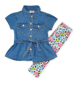 Toddler Girls Denim Tunic Top and Leggings Set - 1505054731321