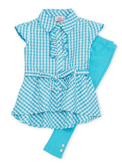 Toddler Girls Belted Plaid Top with Solid Leggings Set - 1505054731323