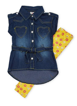 Toddler Girls Denim Top with Printed Leggings Set - 1505054731327