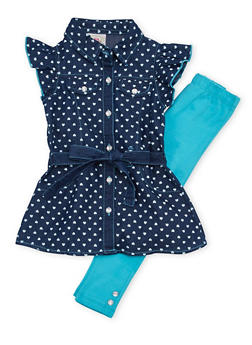 Toddler Girls Printed Denim Top and Leggings Set - 1505054731328