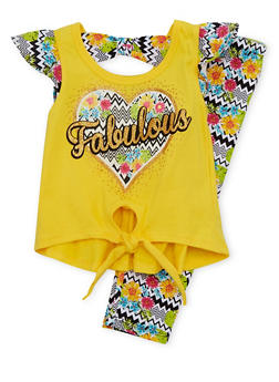 Toddler Girls Graphic Top with Printed Leggings Set - 1505054731330