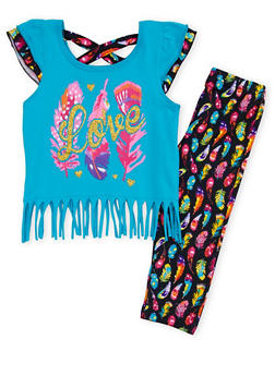 Toddler Girls Fringed Top with Printed Leggings Set - 1505054731331