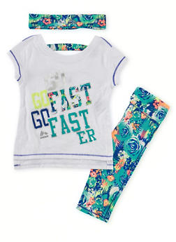 Toddler Girls Top Leggings and Headband with Go Faster Print - 1505061950671