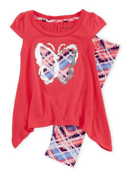 Toddler Girls Sharkbite Hem Butterfly Top and Printed Leggings - 1505061959971