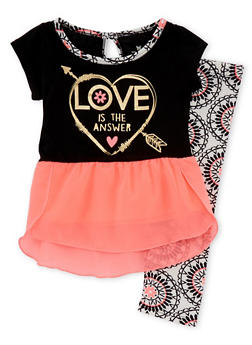 Toddler Girls Chiffon Hem Top and Leggings with Love is the Answer Heart Print - 1505061959982