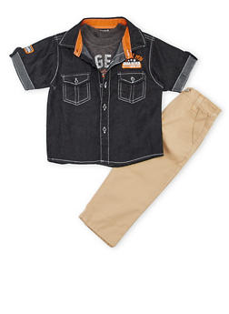 Toddler Boys Denim Shirt and Graphic Tee with Twill Pants Set - 1506054731400