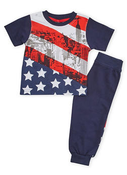 Toddler Boys Crew Neck Tee and Joggers with American Flag Print - 1506054731415