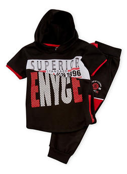 Toddler Boys Enyce Hooded Top and Moto Joggers with Brand Logo Print - 1506054732249