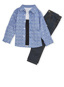 Toddler Boys Jeans T Shirt and Button Up Top with Paisley Print - 1506060990080