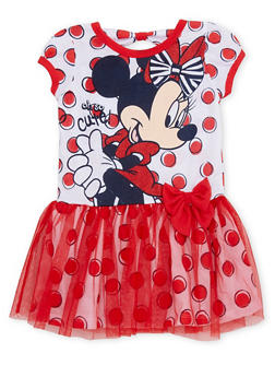 Toddler Girls Minnie Mouse Tutu Dress with Polka Dots - 1508017721226