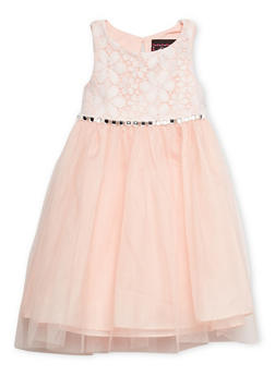 Toddler Girls Sleeveless Dress with Lace Bodice and Studded Tie Waist - 1508021284871