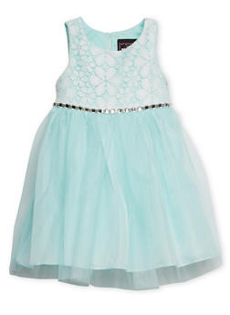 Toddler Girls Sleeveless Dress with Lace Bodice and Studded Tie Waist - 1508021284872