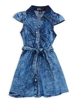 Toddler Girls Denim Shirt Dress with Belt - 1508038340300