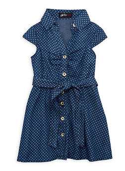 Toddler Girls Denim Shirt Dress in Star Print - 1508038340302