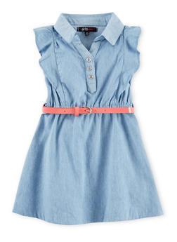 Toddler Girls Cap Sleeve Denim Shirt Dress - 1508038340303