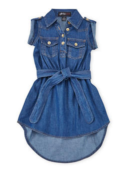 Toddler Girls Denim Shirt Dress with Belt - 1508038340304