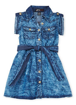 Toddler Girls Chambray Shirt Dress with Belt - 1508038340305