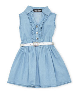 Toddler Girls Chambray Flutter Trim Belted Dress - 1508038340306
