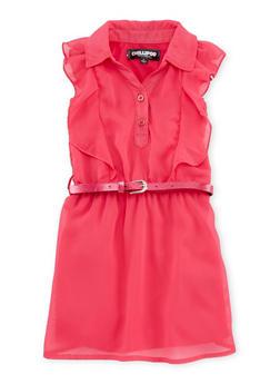 Toddler Girls Flutter Cap Sleeve Belted Dress - 1508038340400