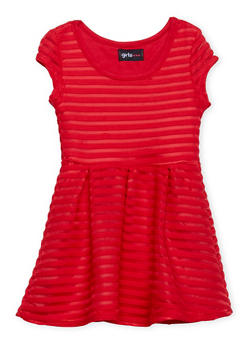 Toddler Girls Ribbed Skater Dress with Pleated Skirt - 1508051060012