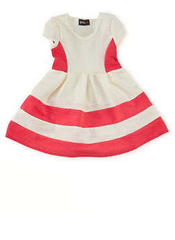 Toddler Girls Fit and Flare Dress with Color Block Print - 1508051060016
