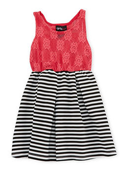 Toddler Girls Lace Dress with Striped Knit Skirt - 1508051060017