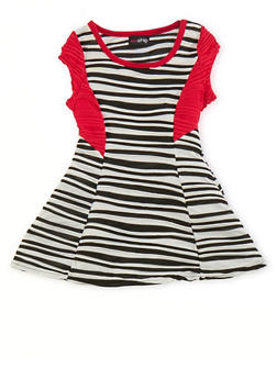 Toddler Girls Striped Skater Dress with Necklace - 1508051060630