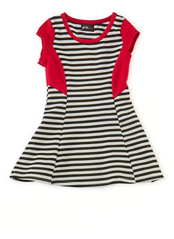 Toddler Girls Striped Skater Dress with Contrast Panels - 1508051060631