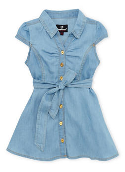 Toddler Girls Belted Denim Dress - 1508054736185