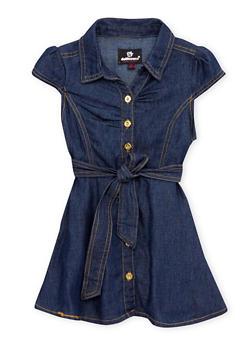 Toddler Girls Belted Denim Dress - 1508054736185