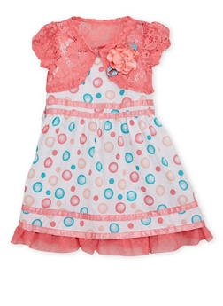 Toddler Girls Dress with Lace Shrug - 1508060990234