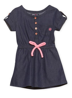 Toddler Girls Chambray Dress with Cinched Waist - 1508060990326