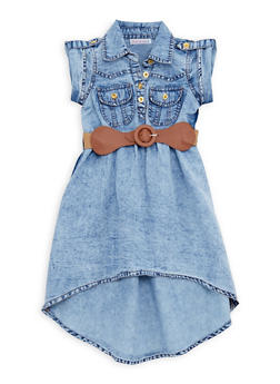 Toddler Girls Acid Wash Denim Dress with Belt - 1508062412570