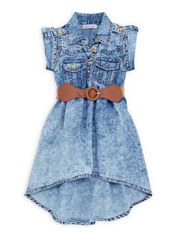 Toddler Girls Acid Wash Denim Dress with Belt - 1508062412571