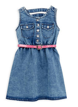 Toddler Girls Denim Dress with Belt - 1508062412580