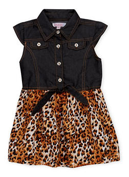 Toddler Girls Denim and Leopard Print Dress with Tie Waist - 1508062412860