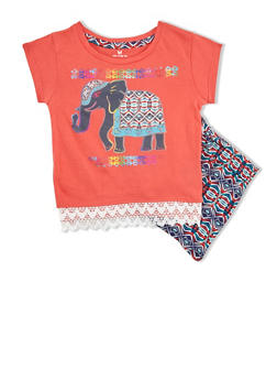 Toddler Girls Elephant Print Top with Abstract Print Shorts Set - 1510061955821