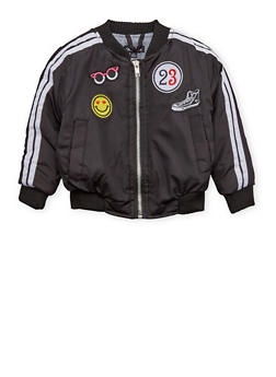 Toddler Girls Bomber Jacket with Patches - 1520038347142