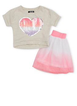 Toddler Girls Kensie Sequin Heart Top and Tutu Skirt - 1527060990940