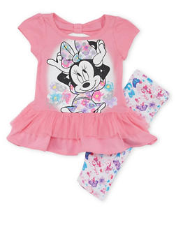 Baby Girl Minnie Mouse Peplum Top and Leggings Set - 1540009295915