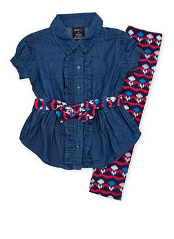 Baby Girl Denim Tunic Top and Printed Leggings Set - 1540038345651